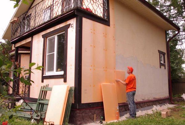 Наружное утепление дома пеноплексом
