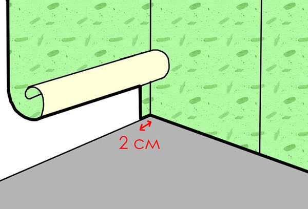 Один из способов оклейки внутреннего угла