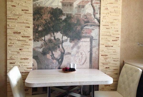 Текстильные фотообои на кухне