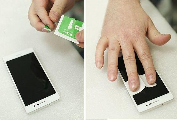 Наклеивание стекла на мобильном