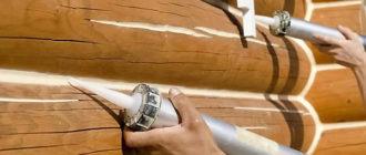 Заделка швов и трещин в срубе герметиком для дерева