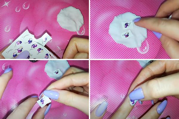 Использование водной наклейки для дизайна ногтей