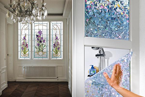 Витражная пленка на стеклах в интерьере