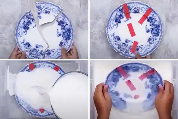 Склеивание фарфоровой тарелки молоком